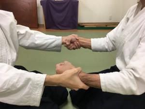 座り技両手取り呼吸力①